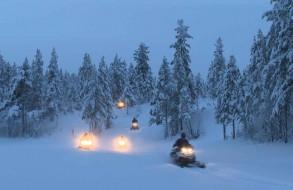 Snow mobile safari in Norrland